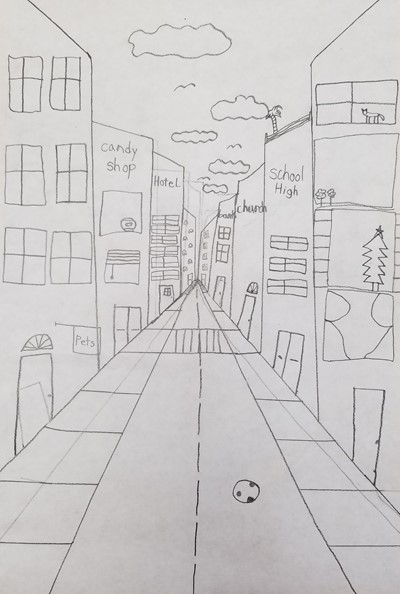 Perspective drawing from student of the week.