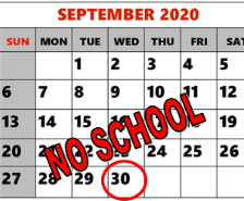 No School on Wed., Sept. 30th