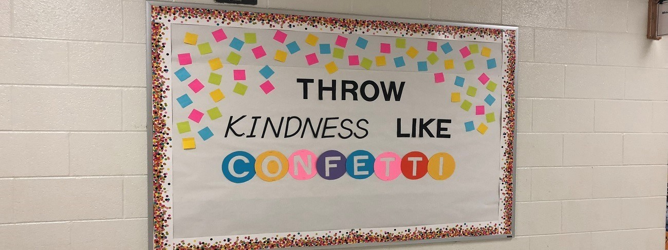 hallway bulletin board display about kindness