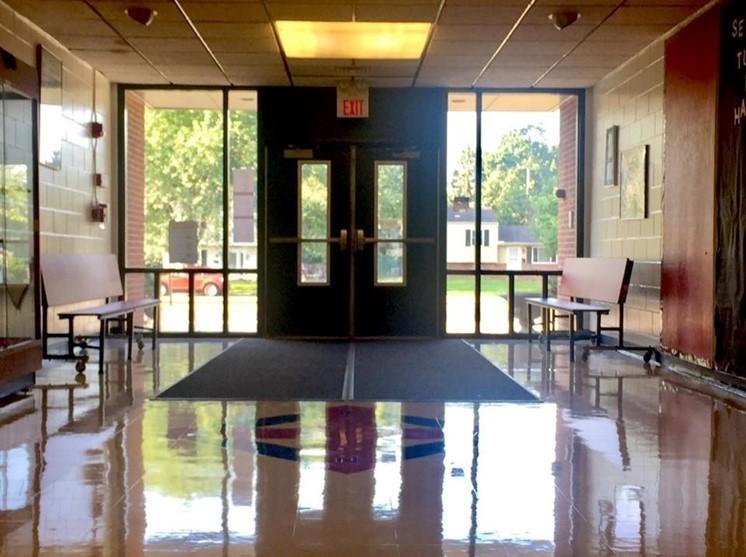 Front doors of the school and front hallway