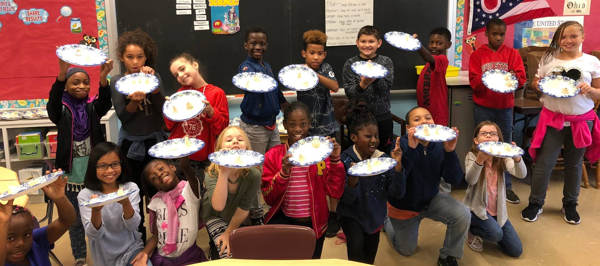 Ms. Schimmoller's class made landforms out of salt dough.
