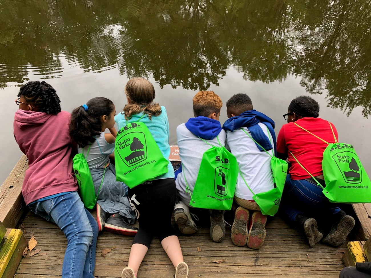 Students looking at a pond