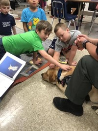 students petting a dog