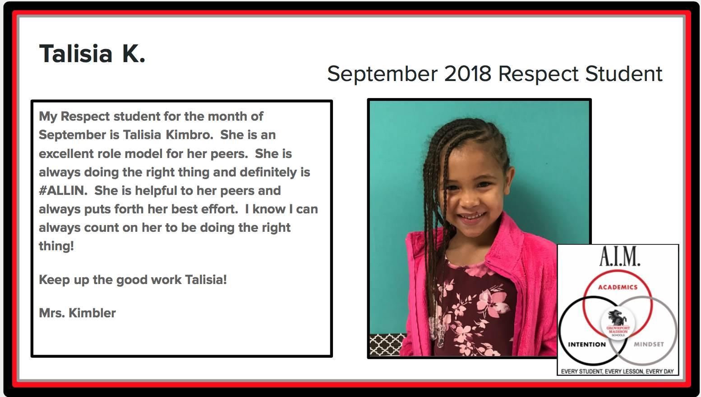 September Respect Student