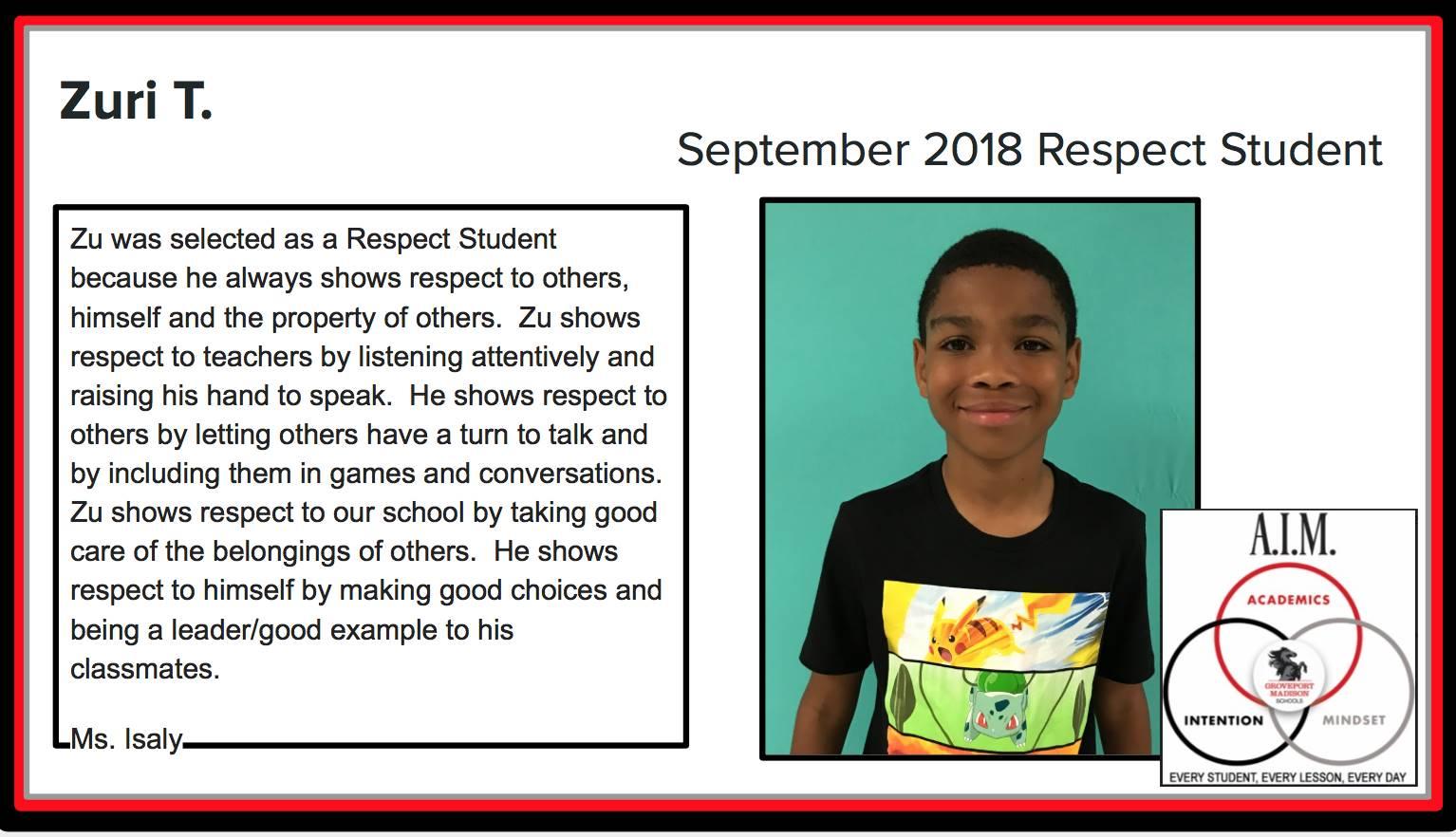 September Respect Student Zuri