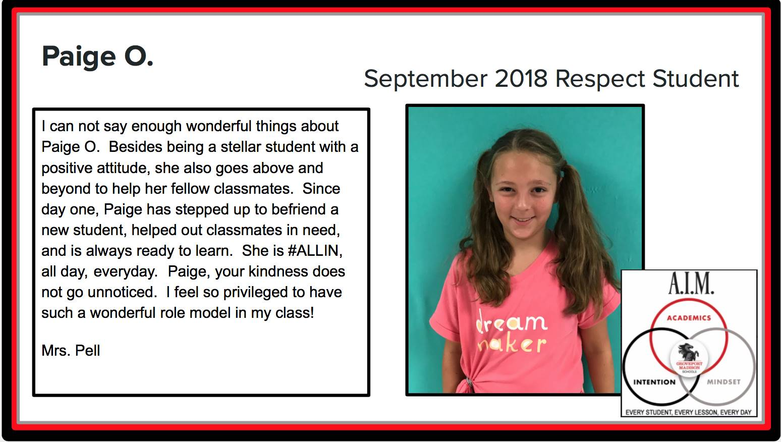 September Respect Student Paige