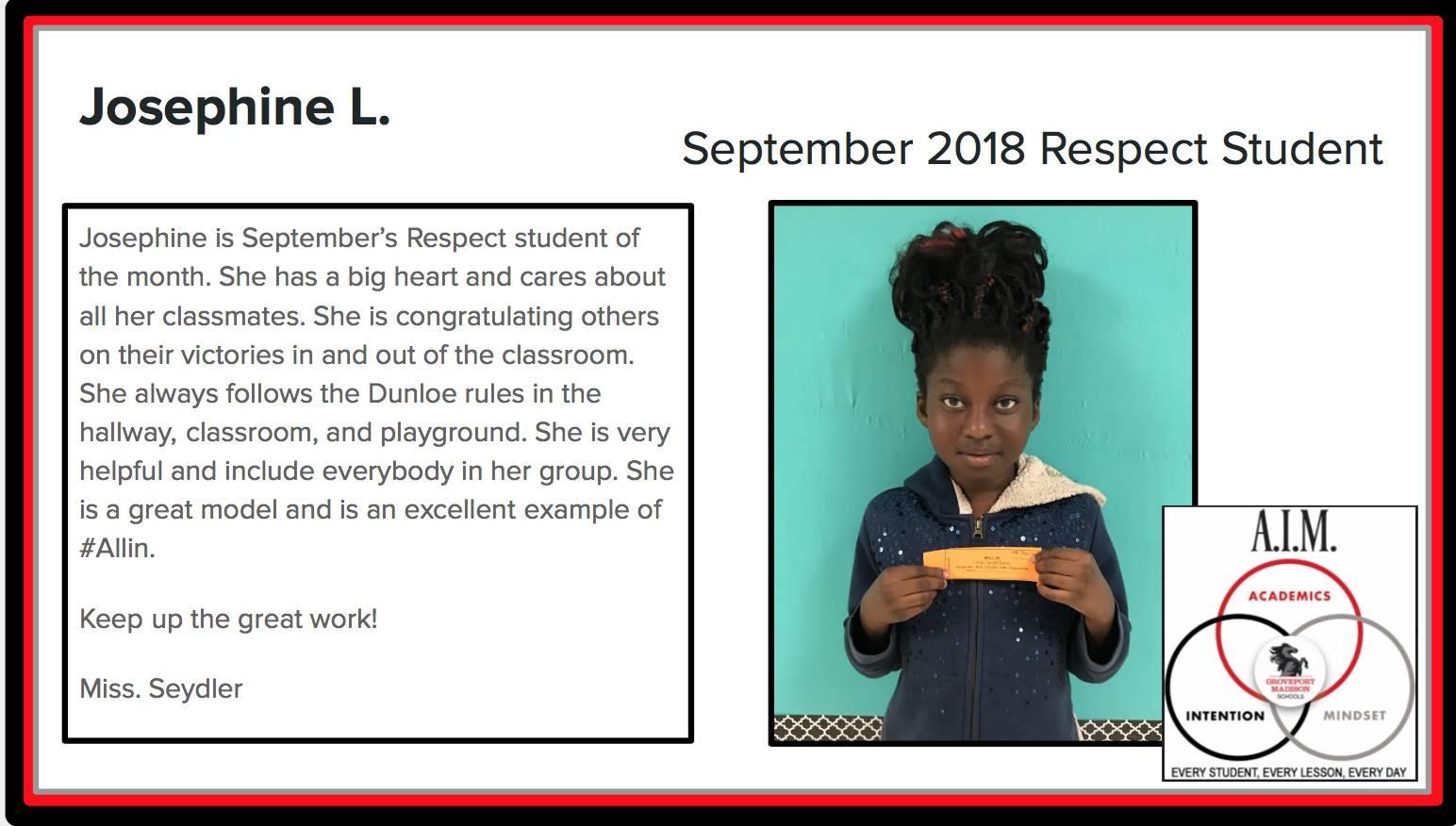 September Respect Student Josephine