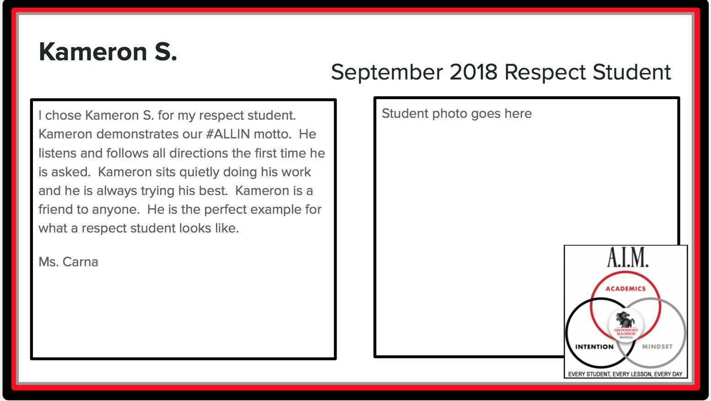 September Respect Student Kameron