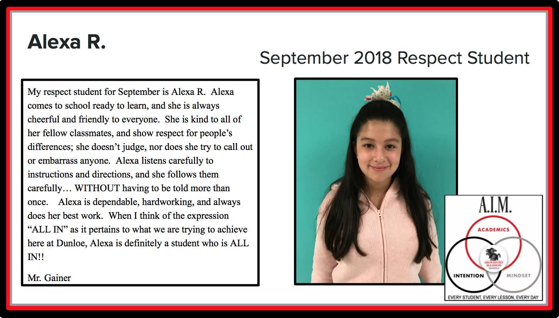 September Respect Student Alexa