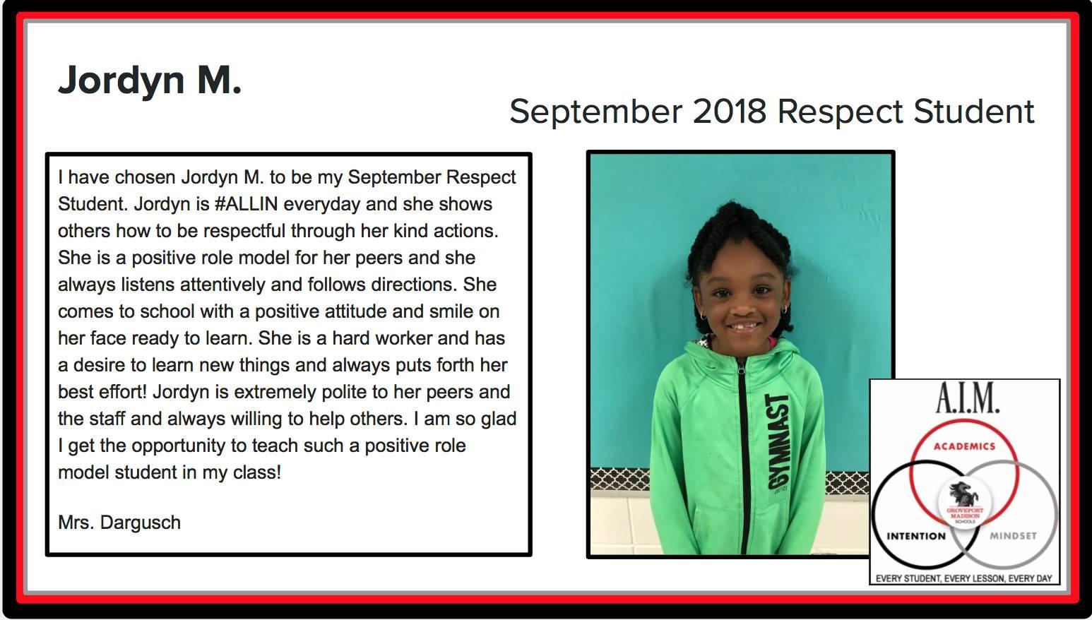 September Respect Student Jordyn