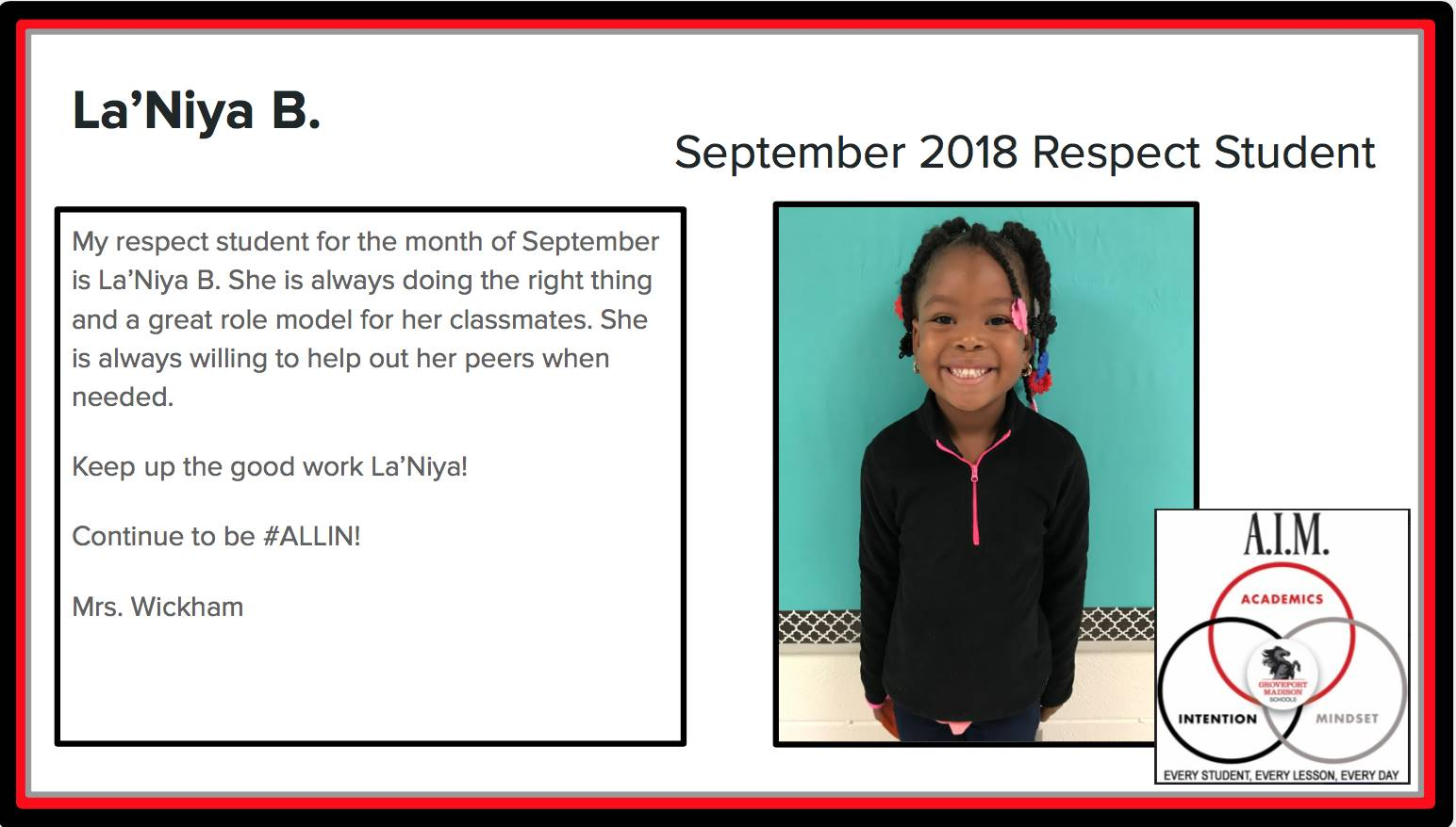 September Respect Student La'Niya