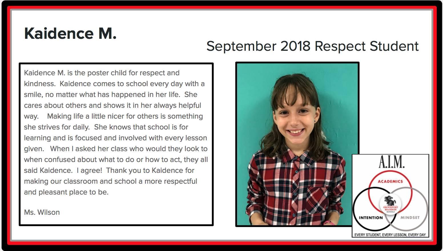 September Respect Student Kaidence