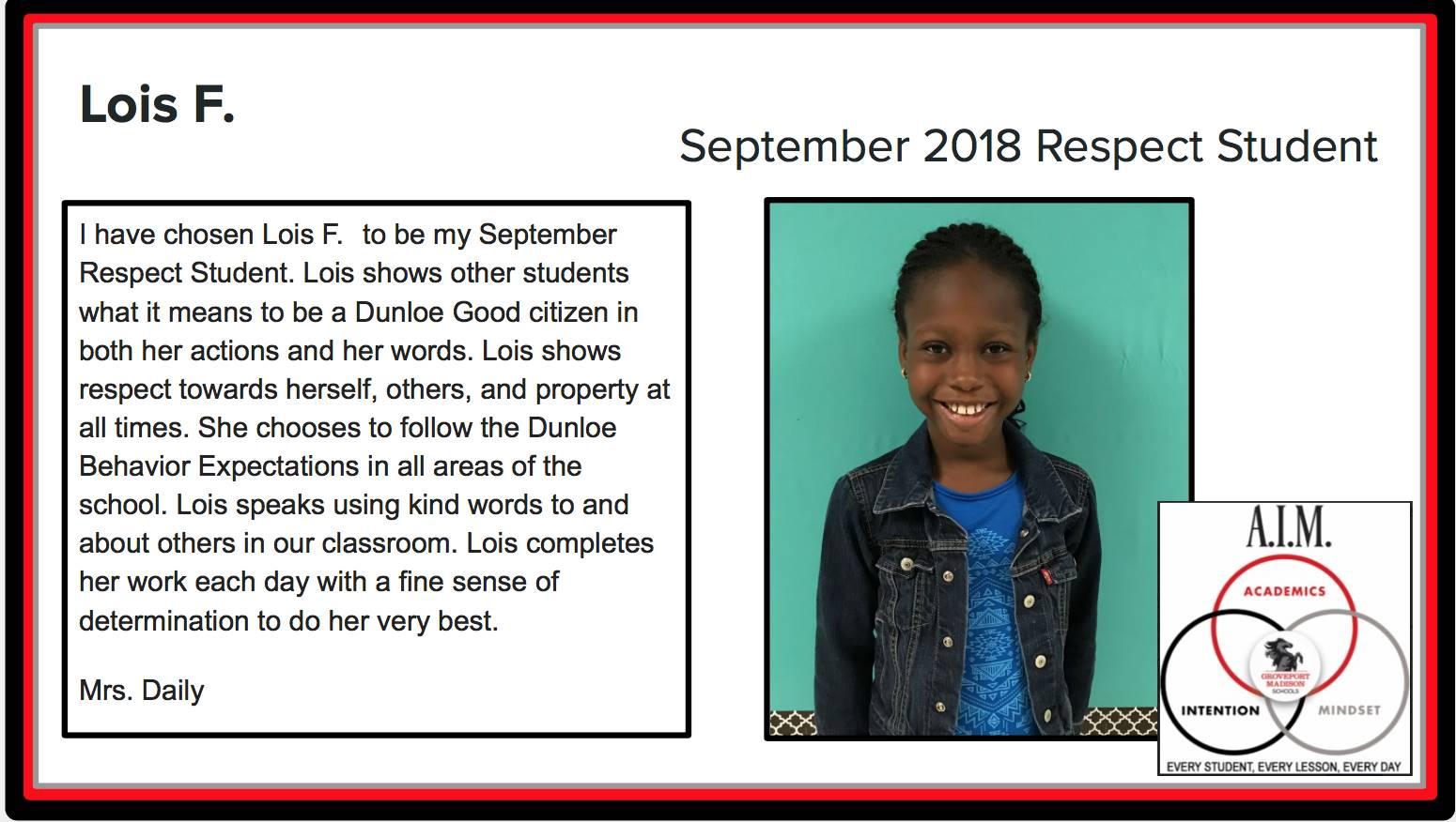 September Respect Student Lois