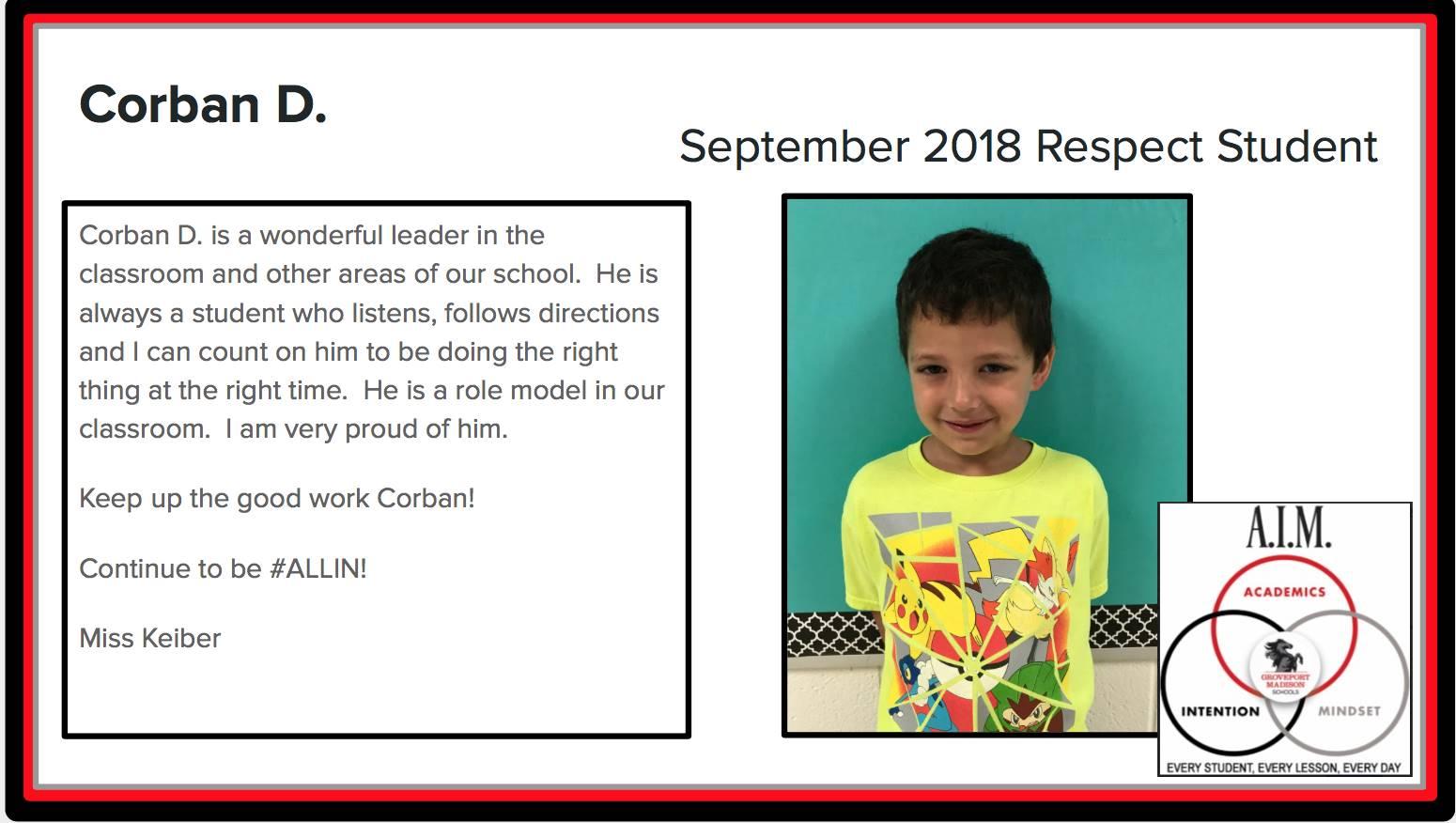 September Respect Student Corban
