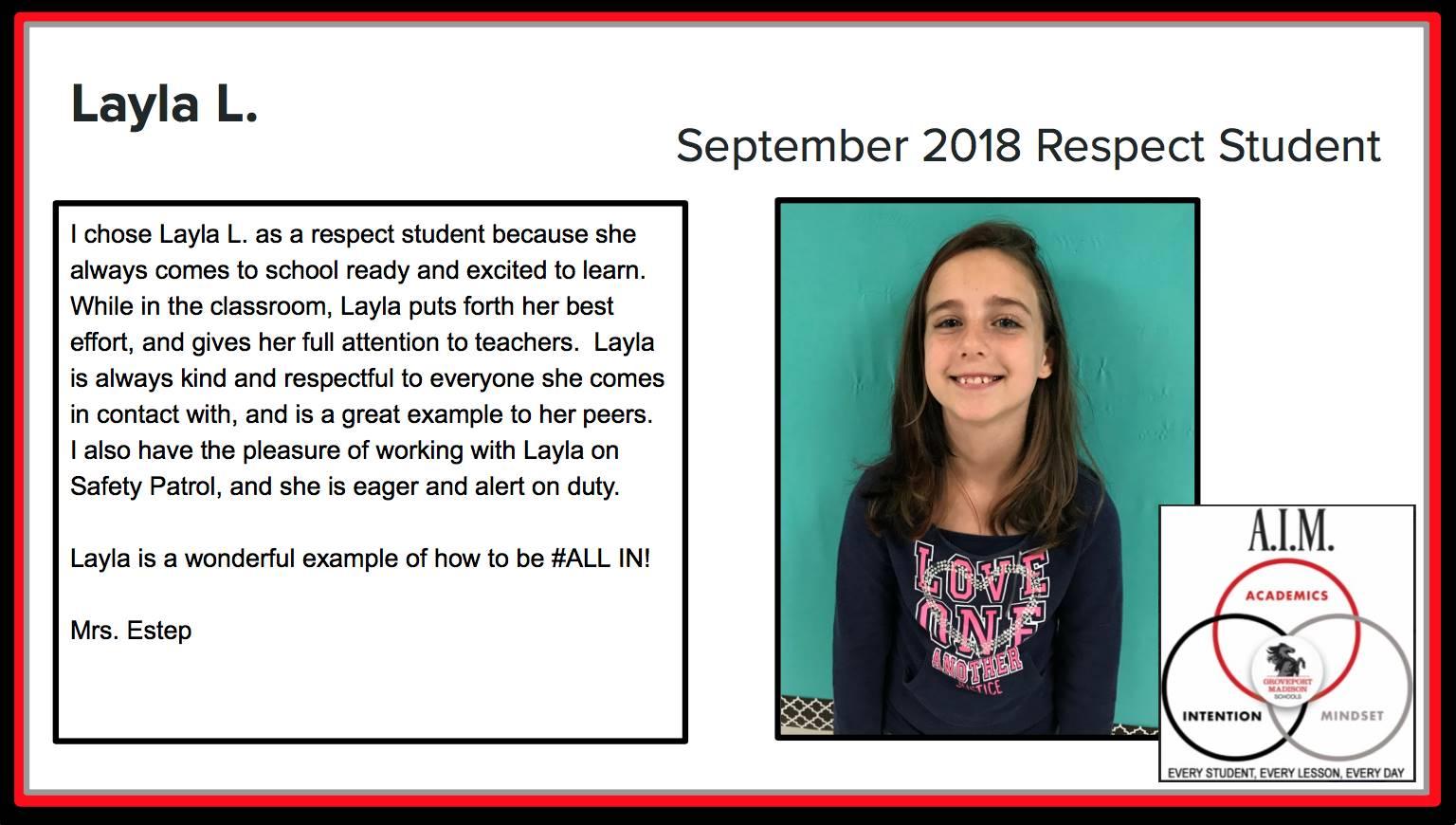September Respect Student Layla