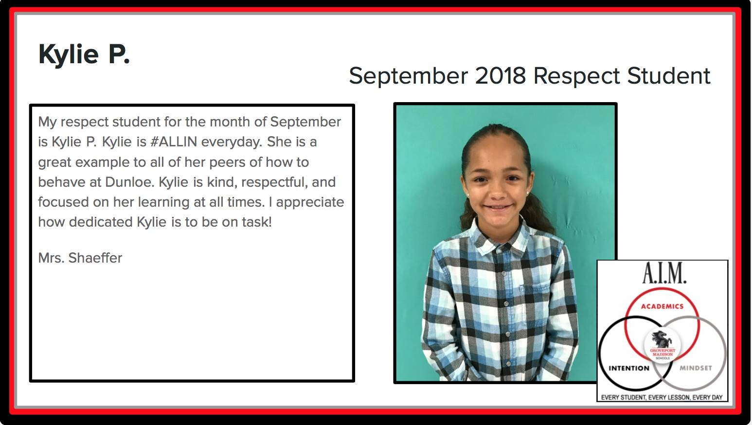 September Respect Student Kylie