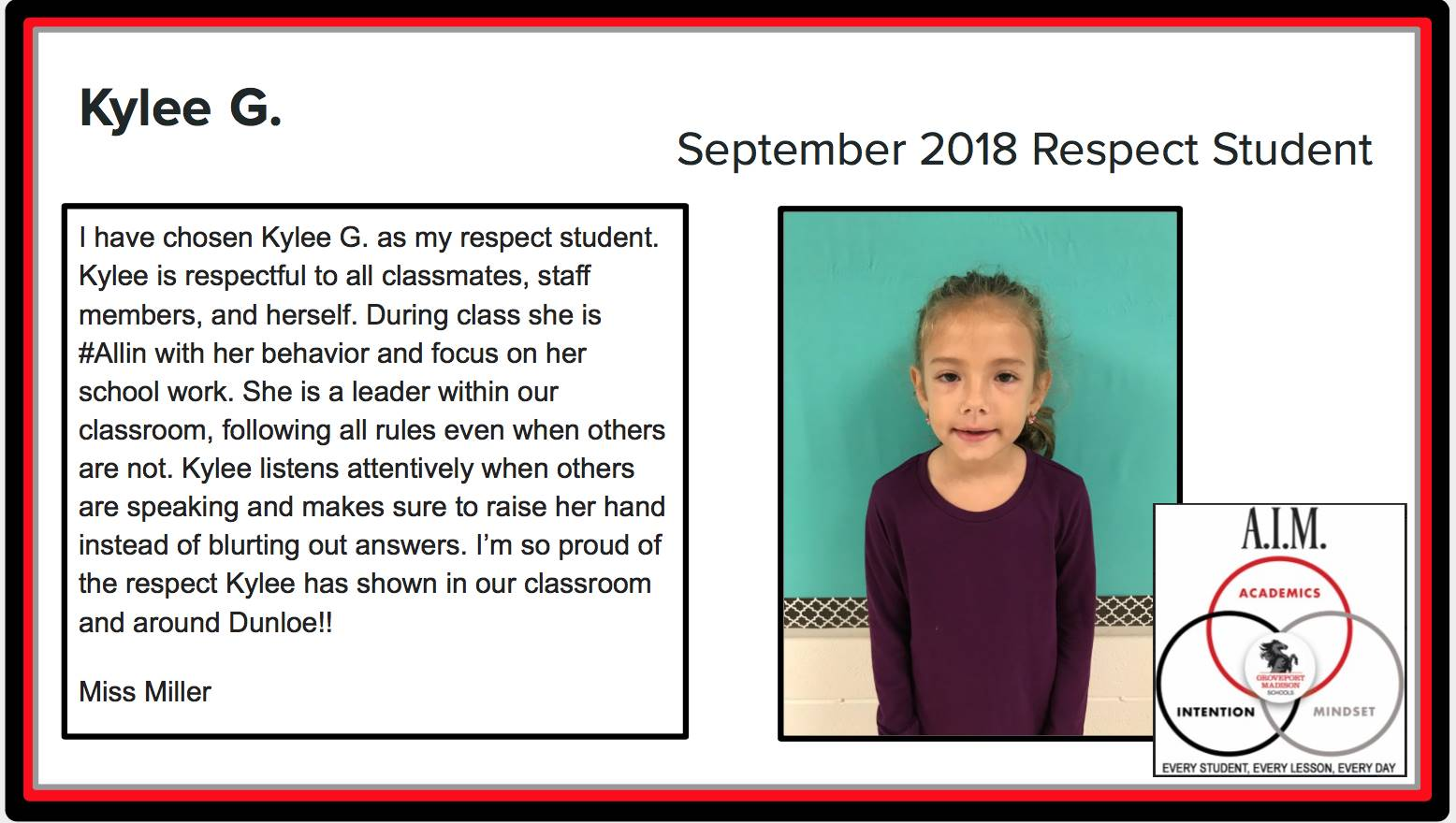 September Respect Student Kylee