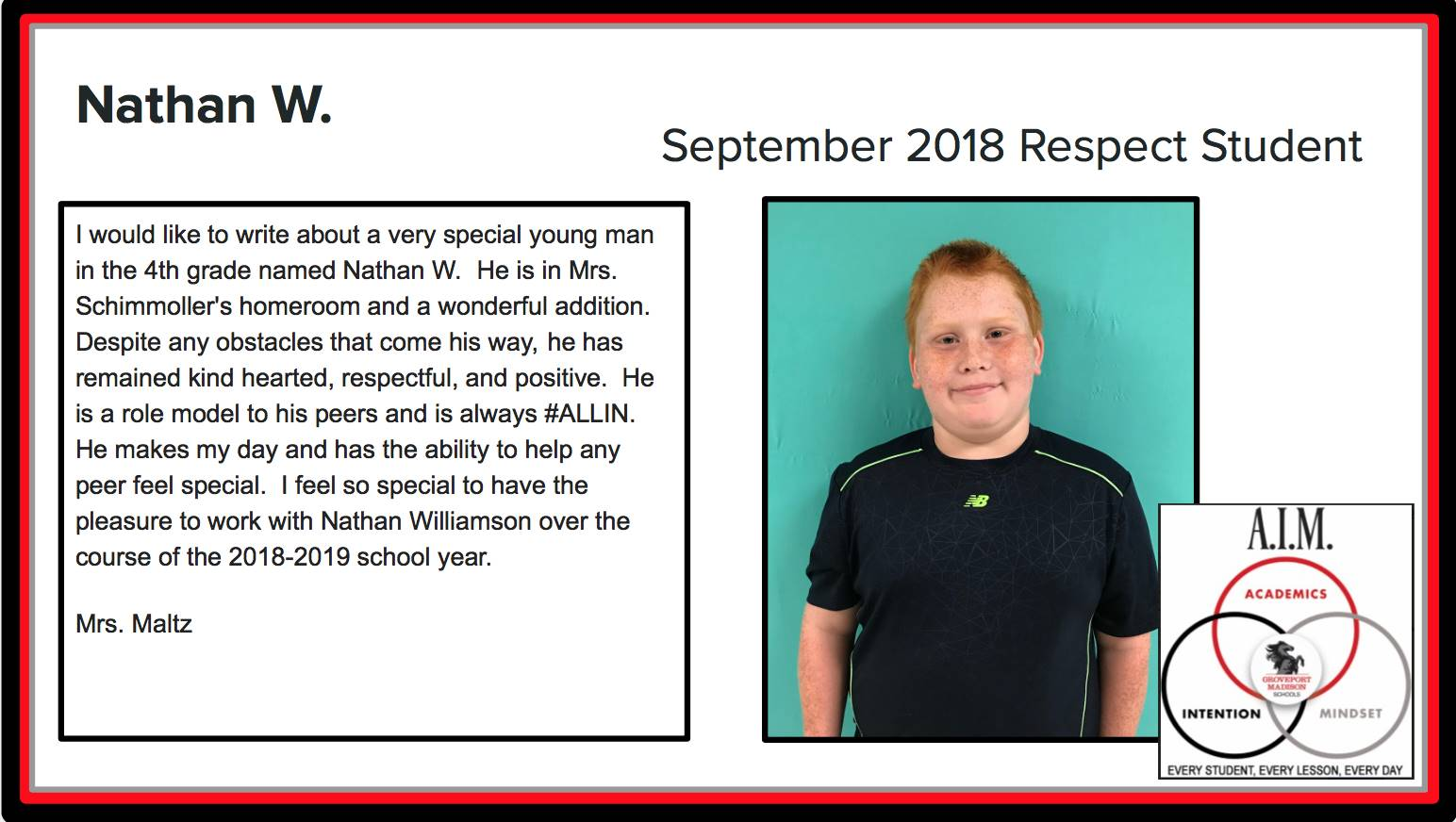 September Respect Student Nathan