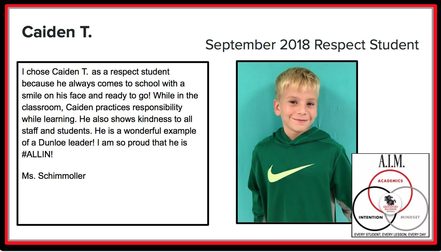 September Respect Student Caiden