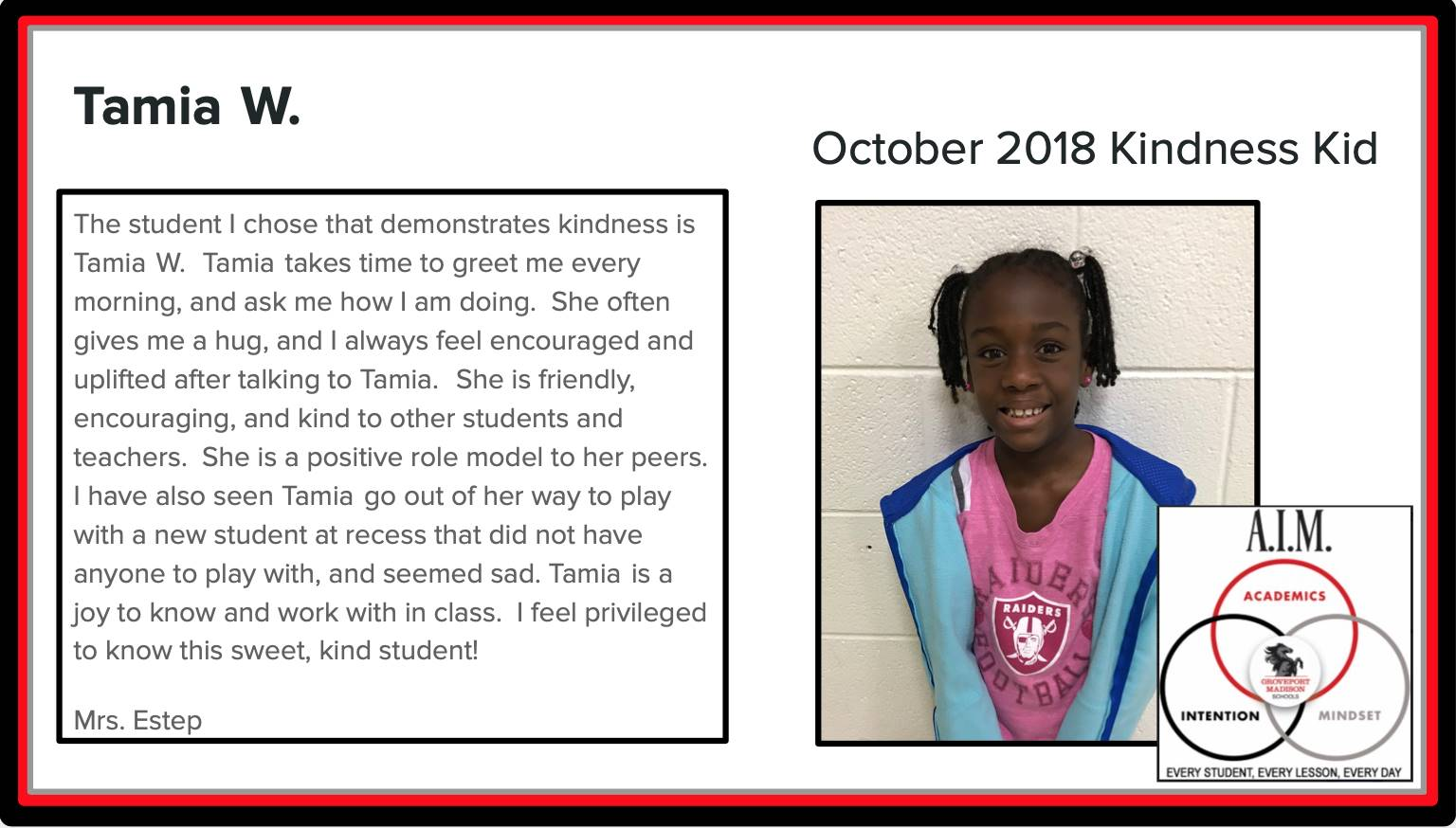 Kindness Kid Tamia
