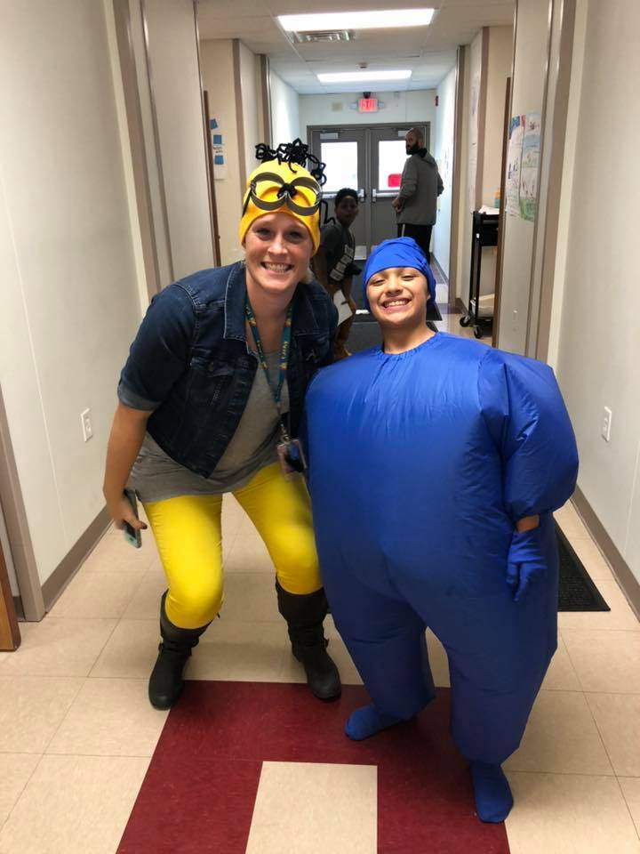 a teacher and a student dressed up for Halloween