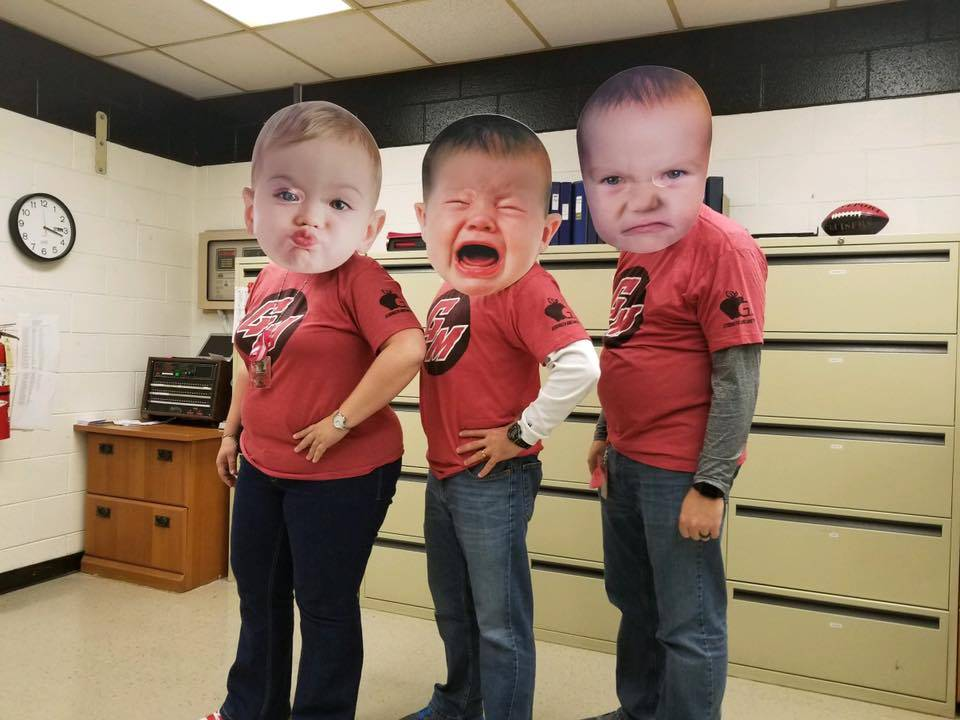 Principals with big baby faces on