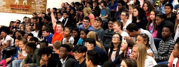Middle School South students at pep rally