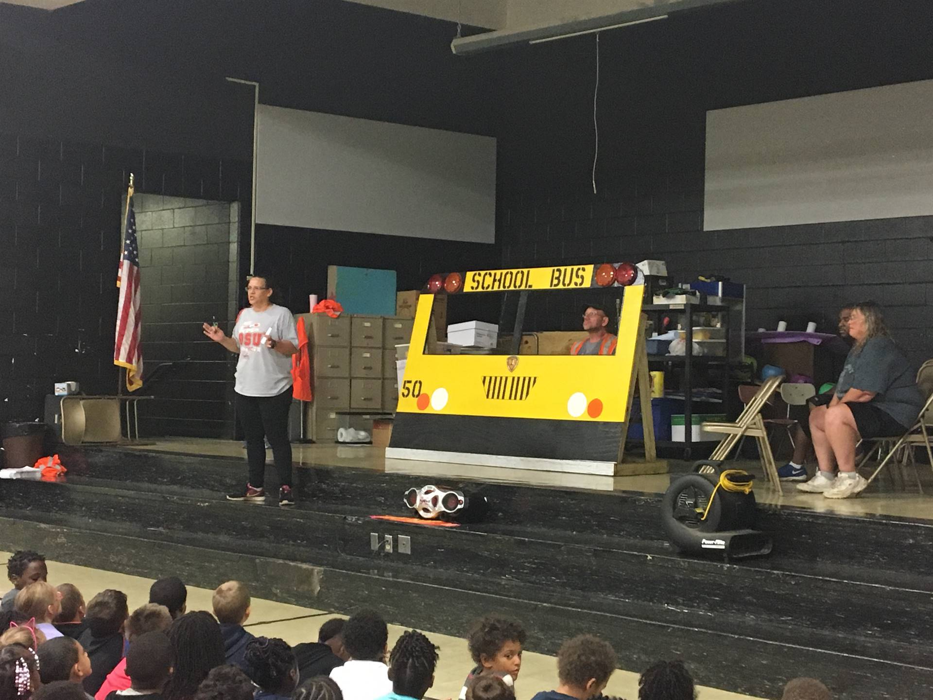 Bus drivers deliver bus safety assembly.