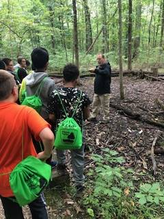 Students looking for a salamander