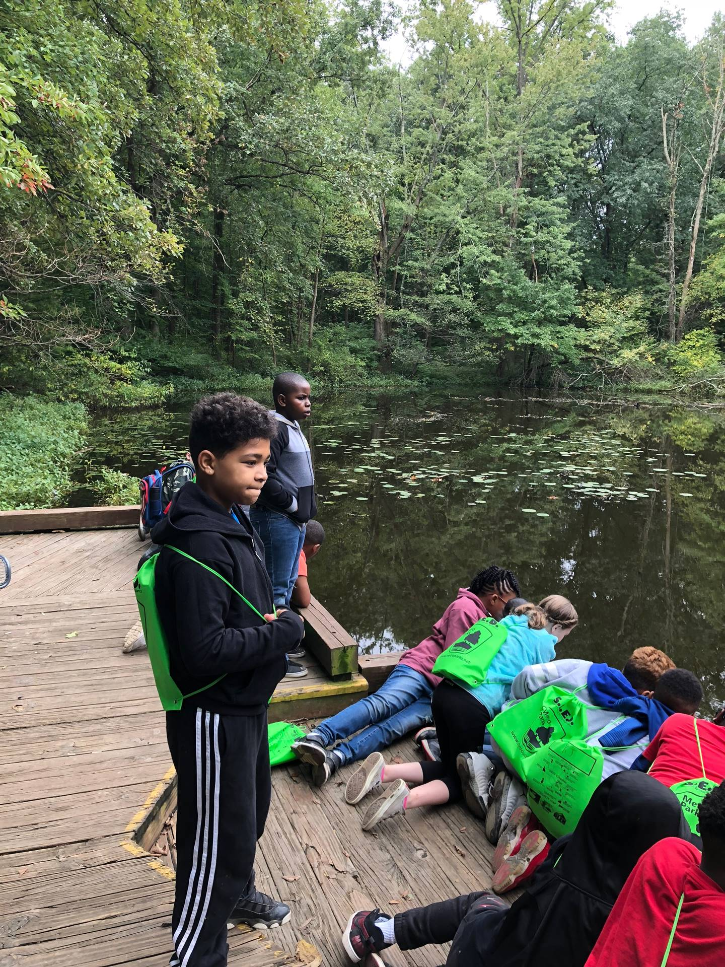 Students looking for fish