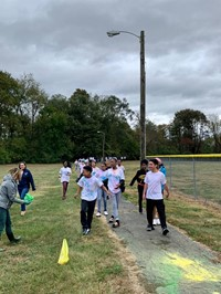 students on color walk