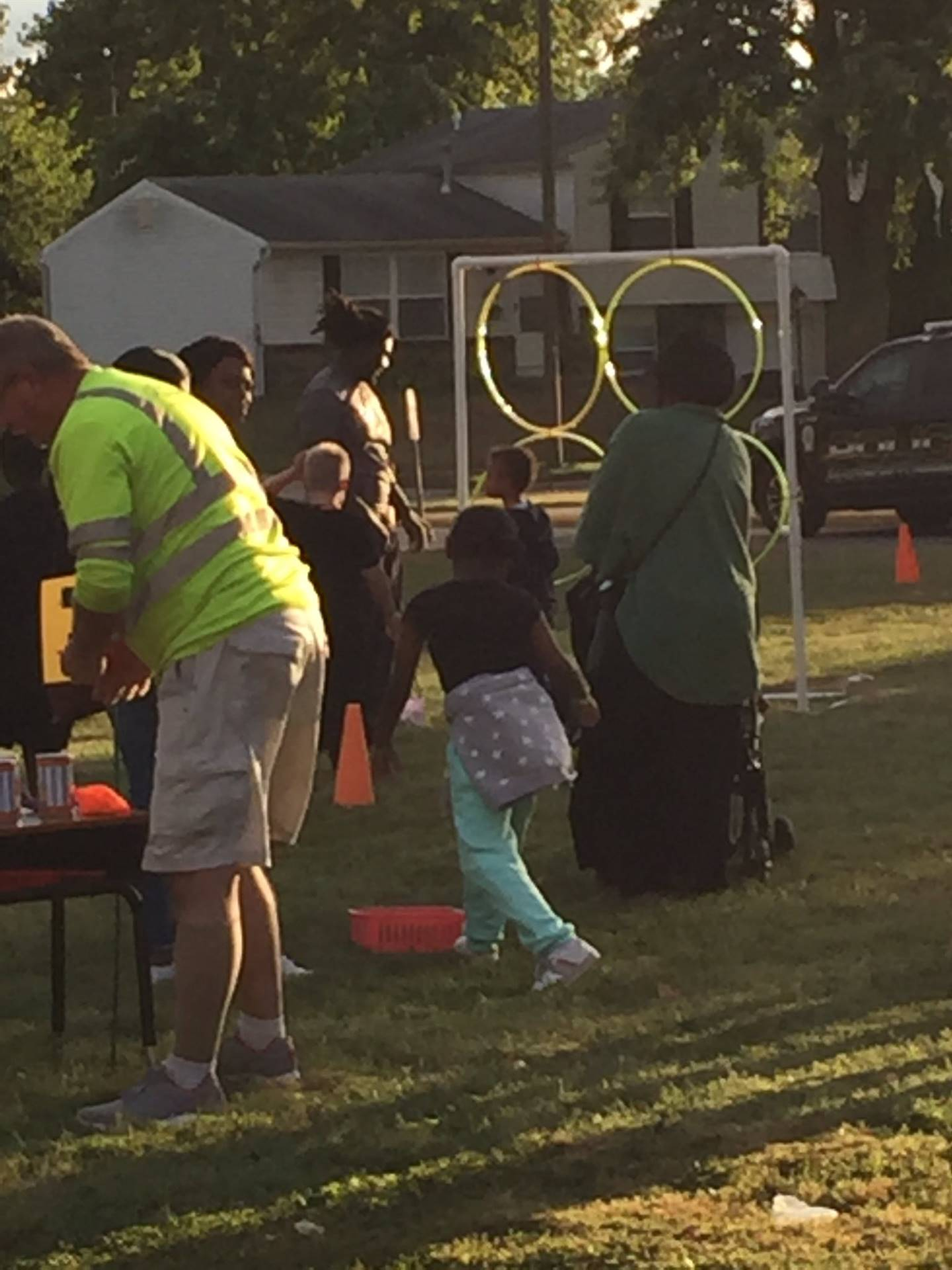 Families enjoying carnival games