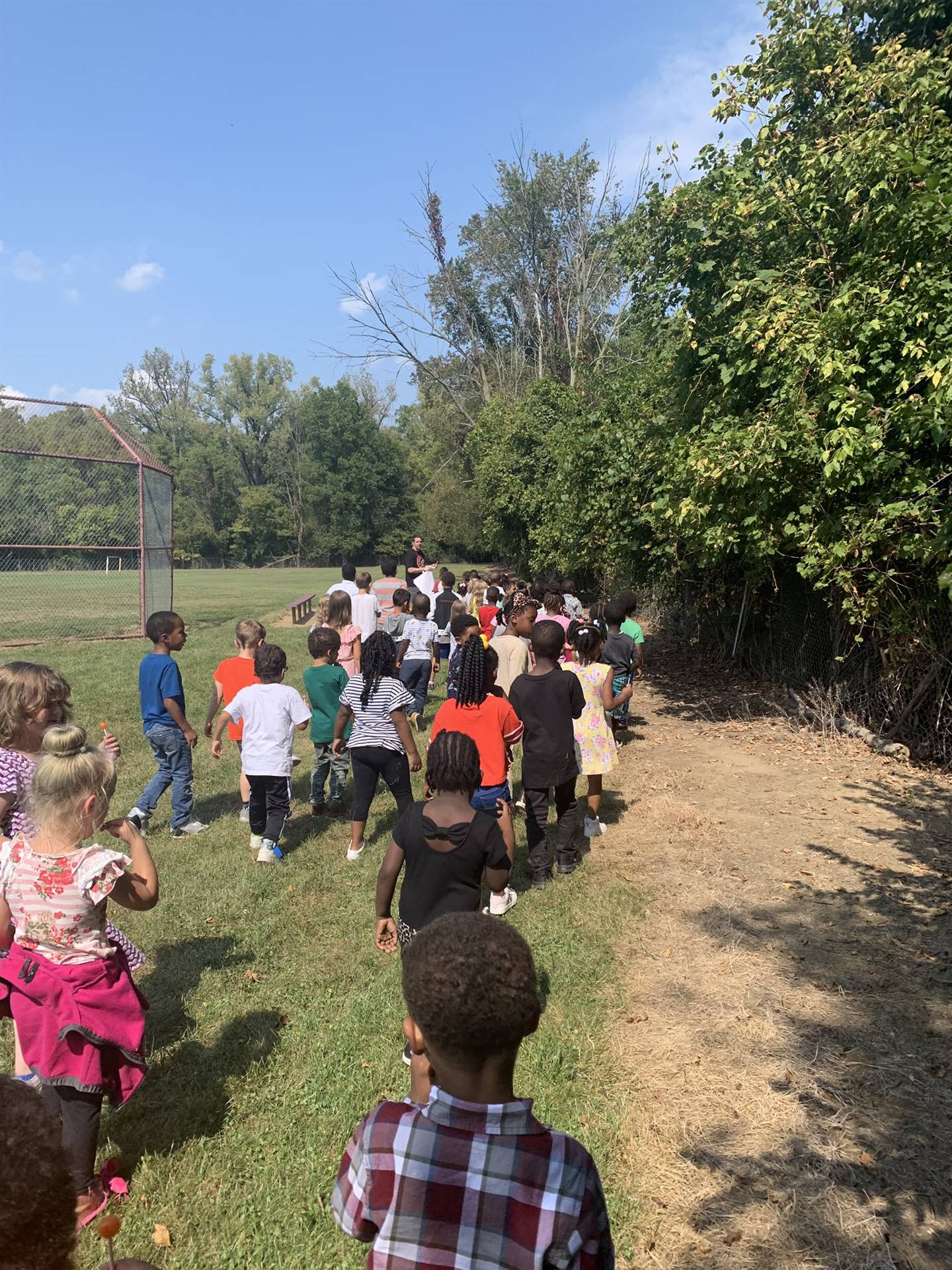 Kindergarten students on a nature walk