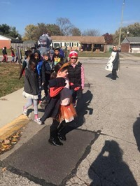 Halloween, students in costumes, parade