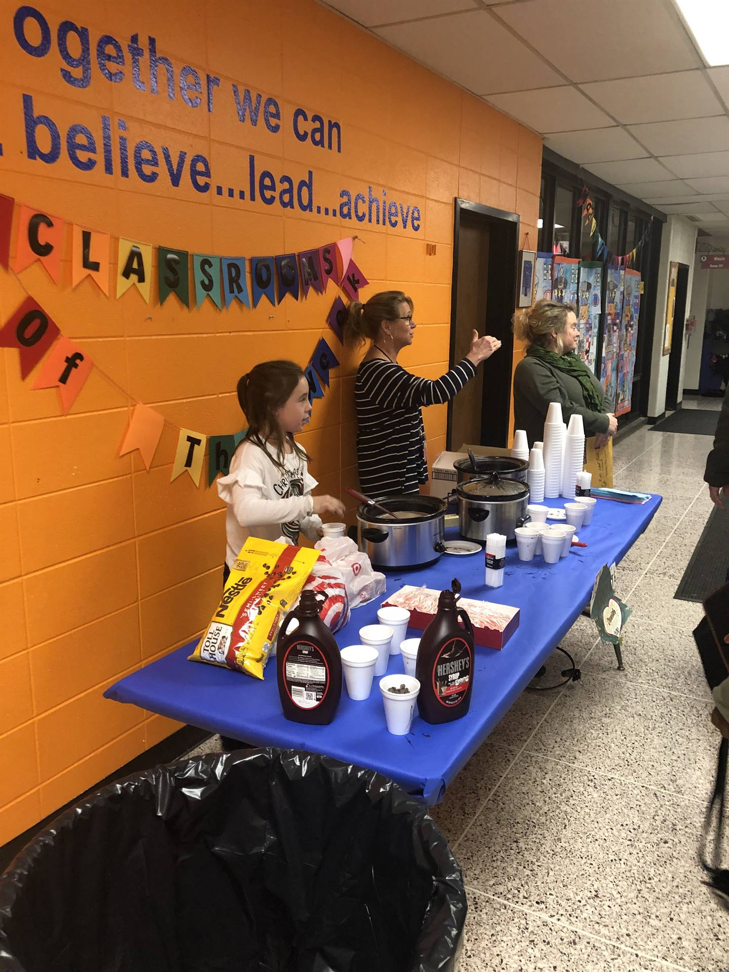 Serving hot chocolate to our families