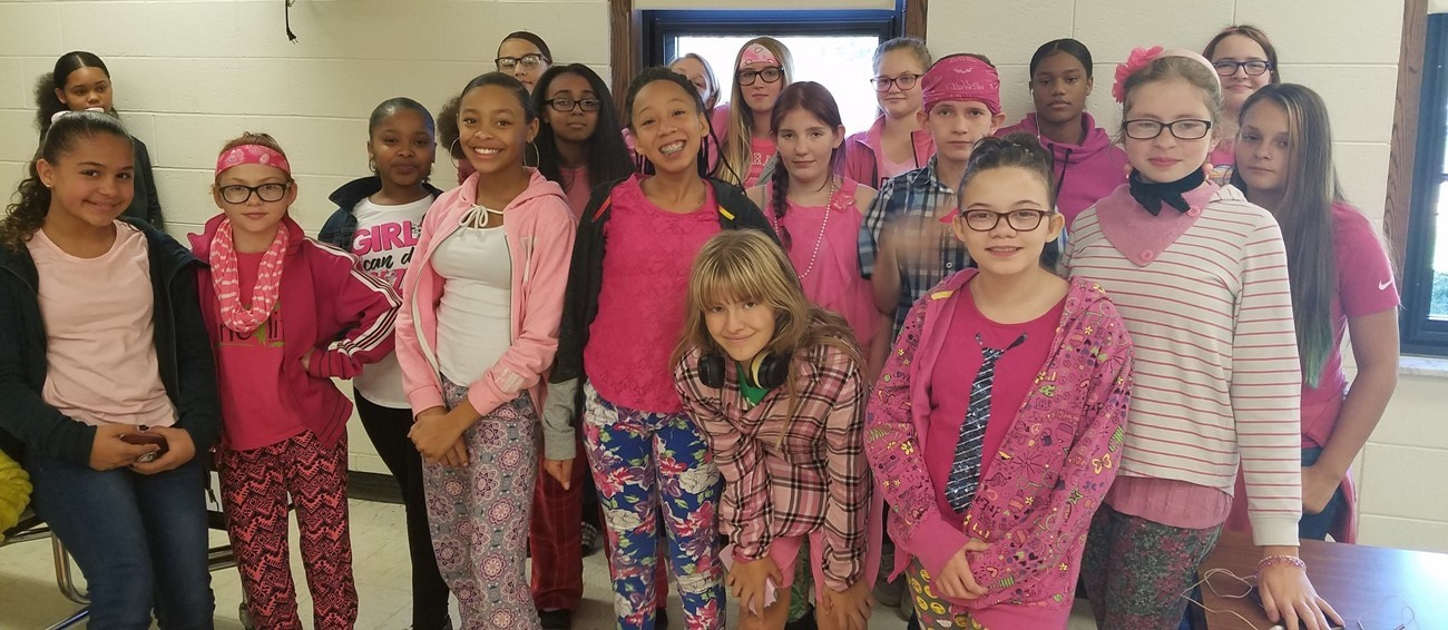 Students wearing pink for Breast Cancer Awareness
