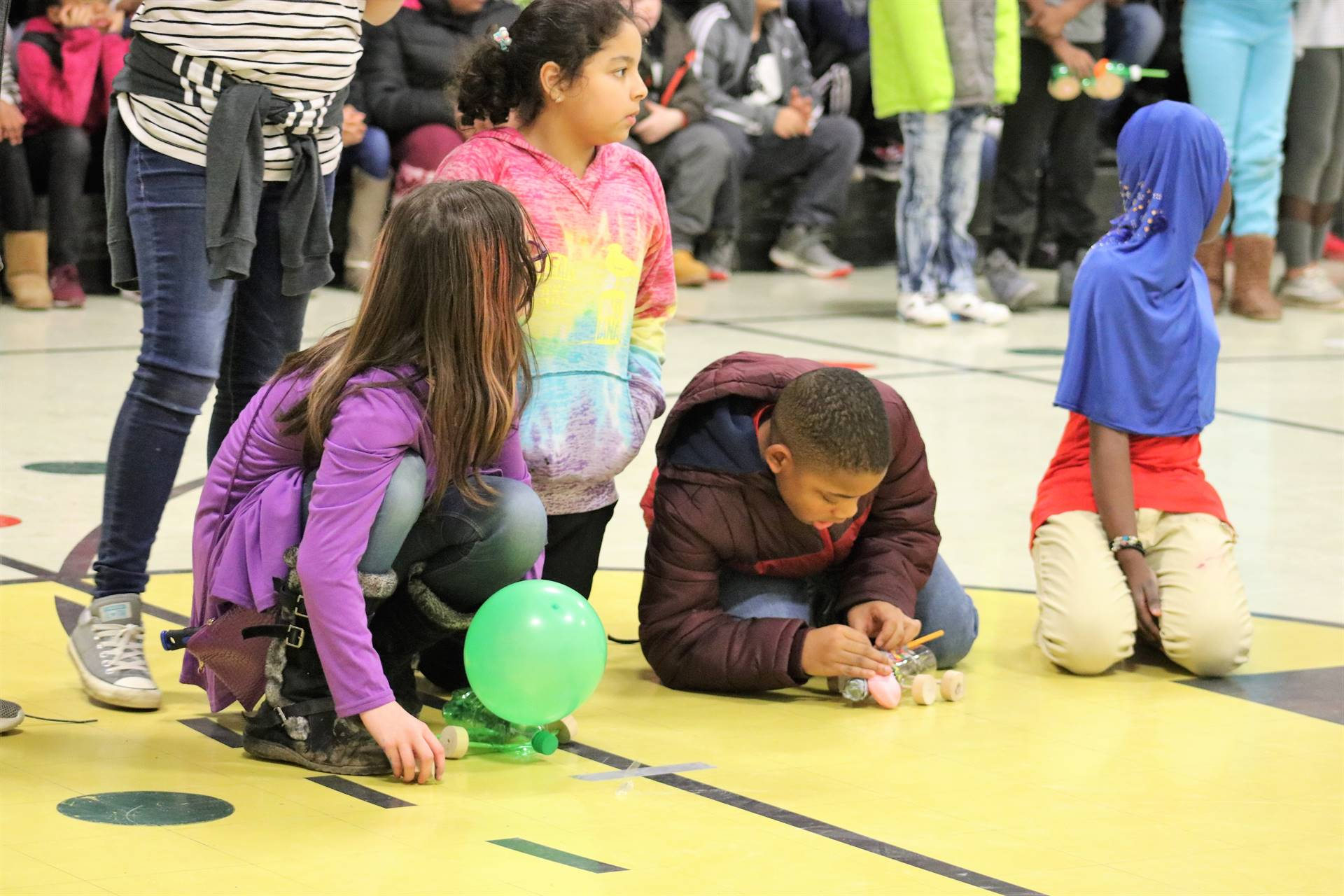 Students preparing to race their self propelled cars!
