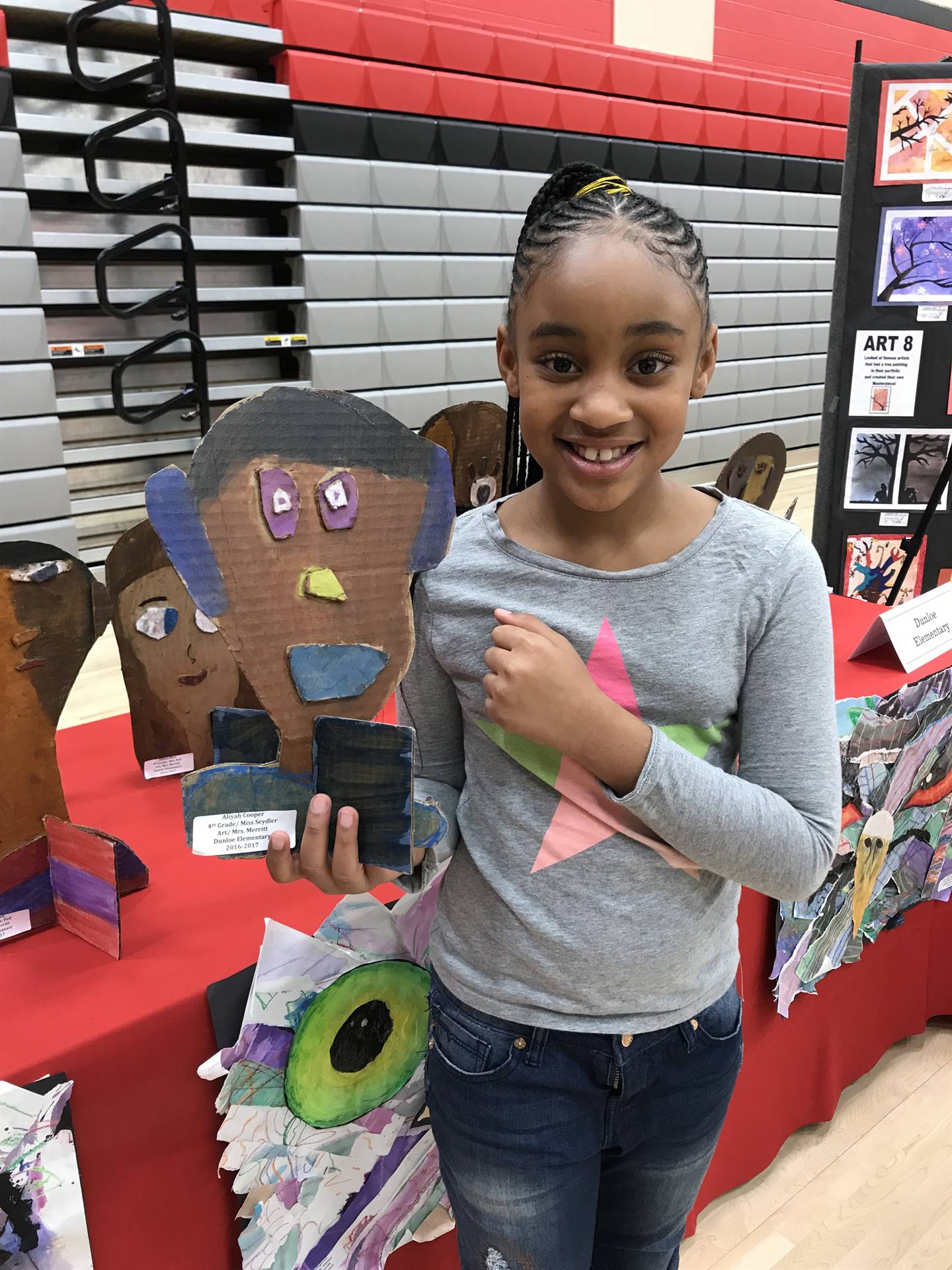 Aliyah with her award winning art project.