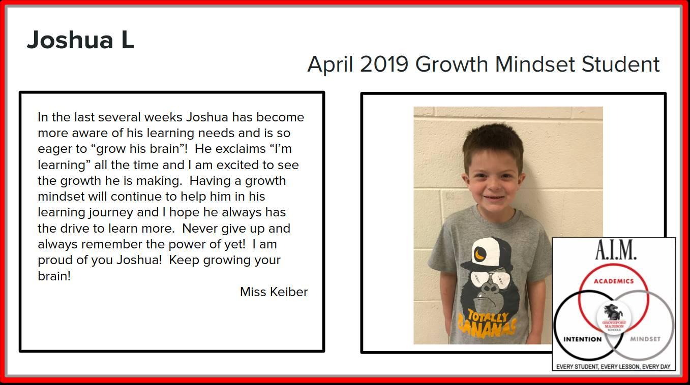 Joshua L. Growth Mindset Student