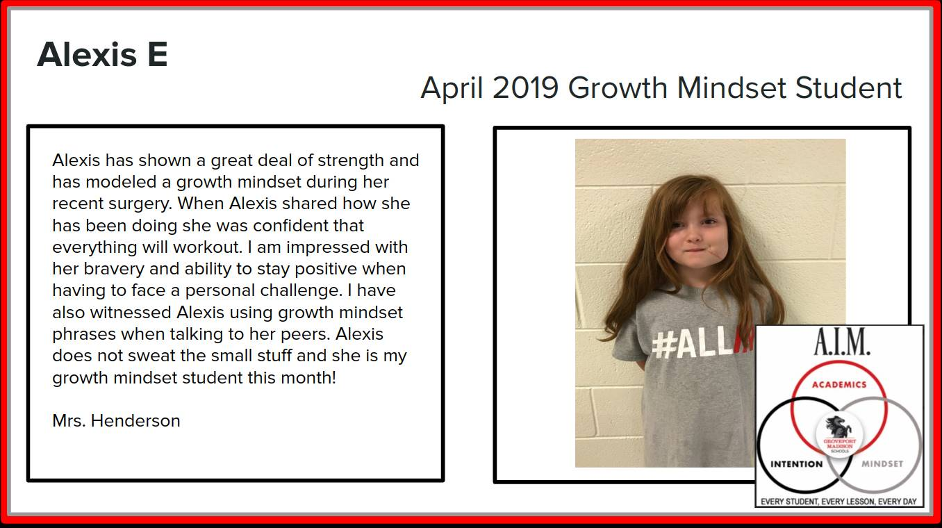 Alexis Growth Mindset Student!