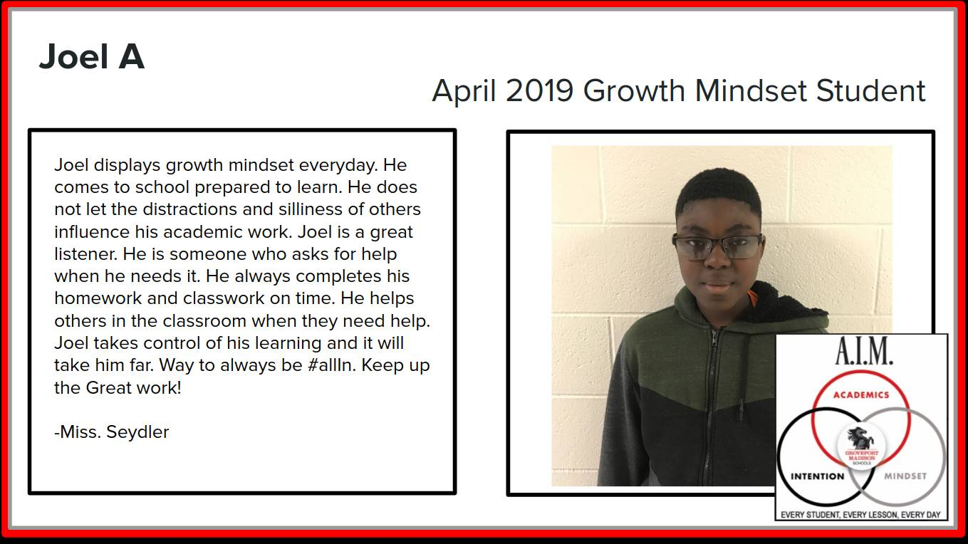 Growth Mindset Joel