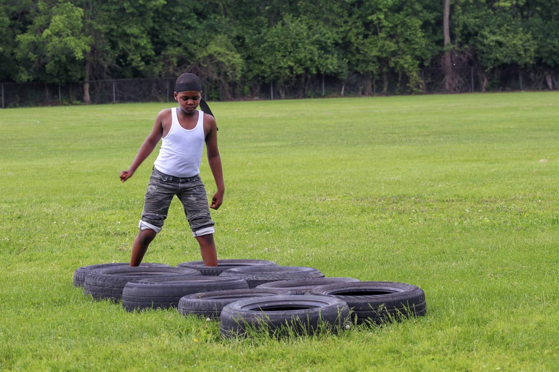 Students participating in the Ninja Warrior Obstacle course!