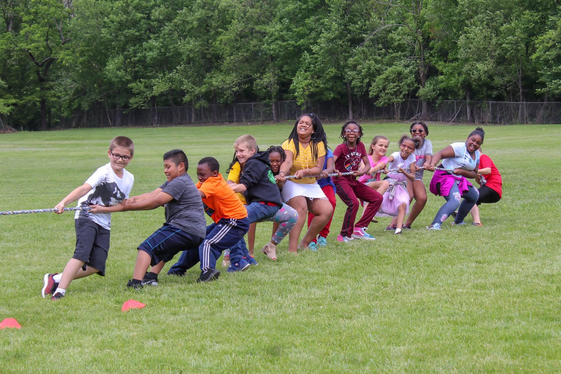 Students playing Tug of War!