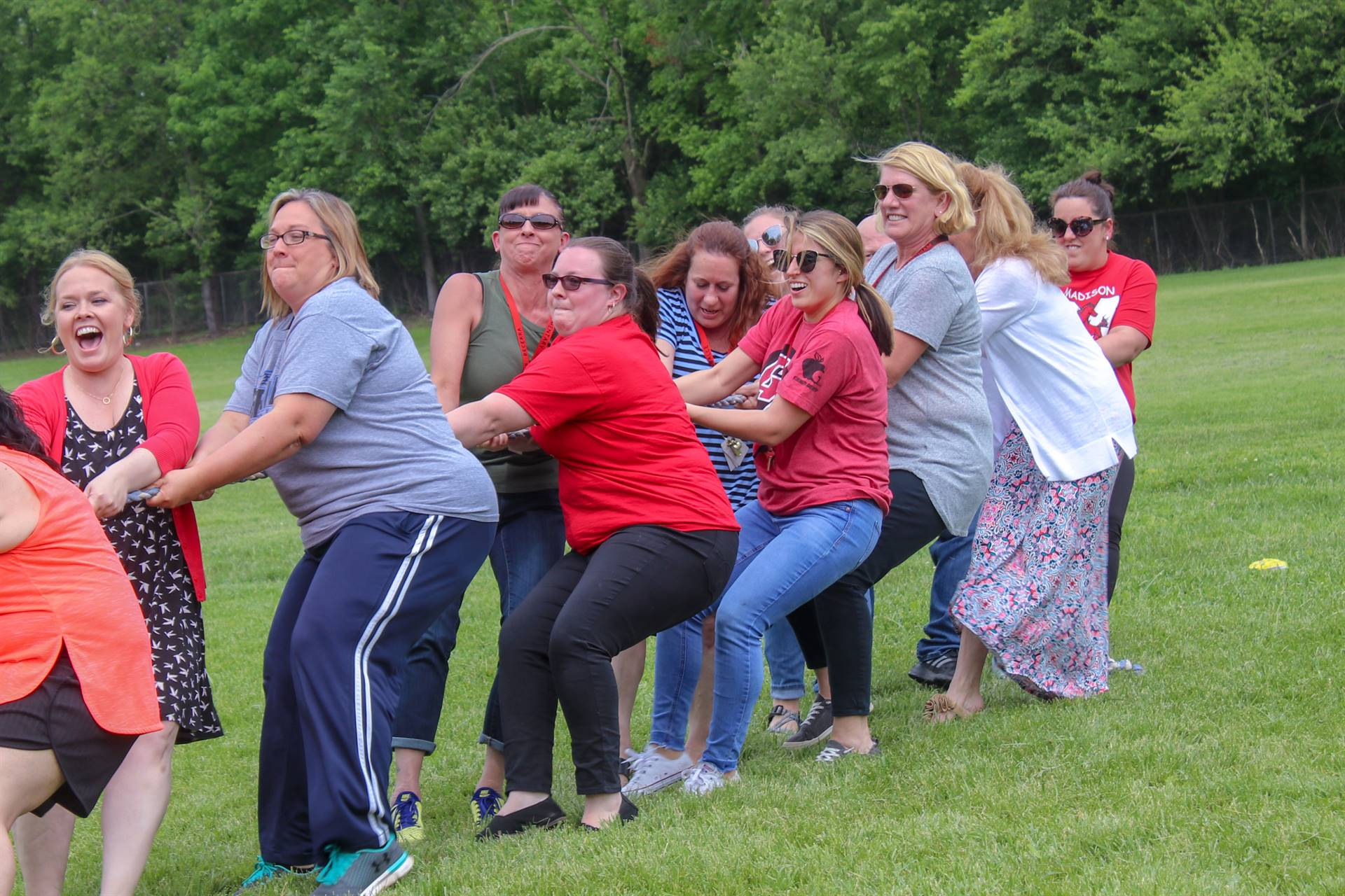 Teachers competing against students in Tug of War!