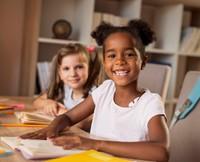 smiling kindergarten girls