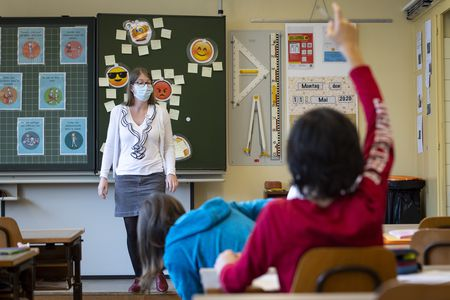 Teacher with mask